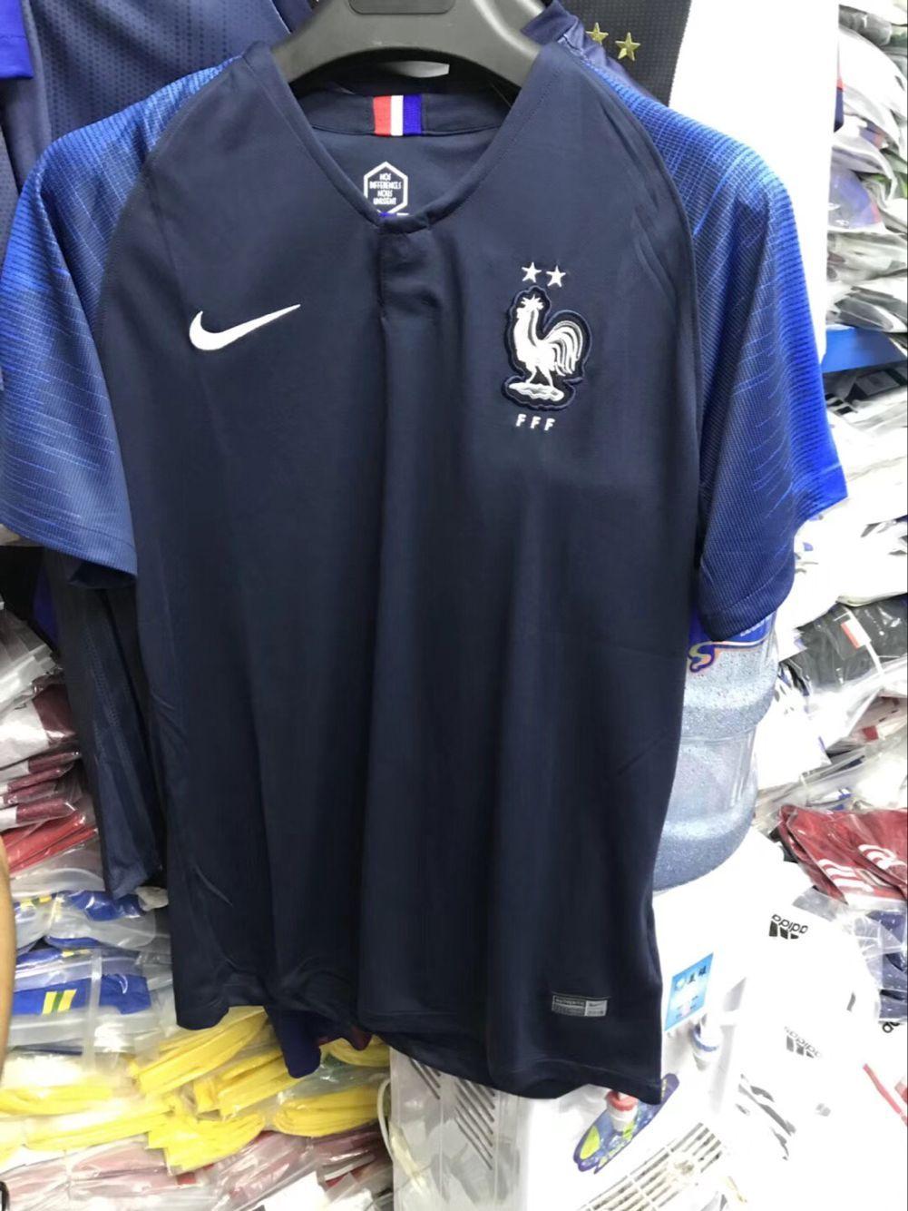 66674e7a223 2 Stars 2018 World Cup France Home Dark Blue Thailand Soccer Jersey AAA