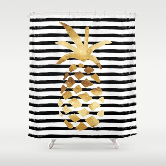 A Gold Foil Look Pineapple Over Black Painted Stripes Bathroom Decor Accessories Black Shower Curtains Gold Shower Curtain