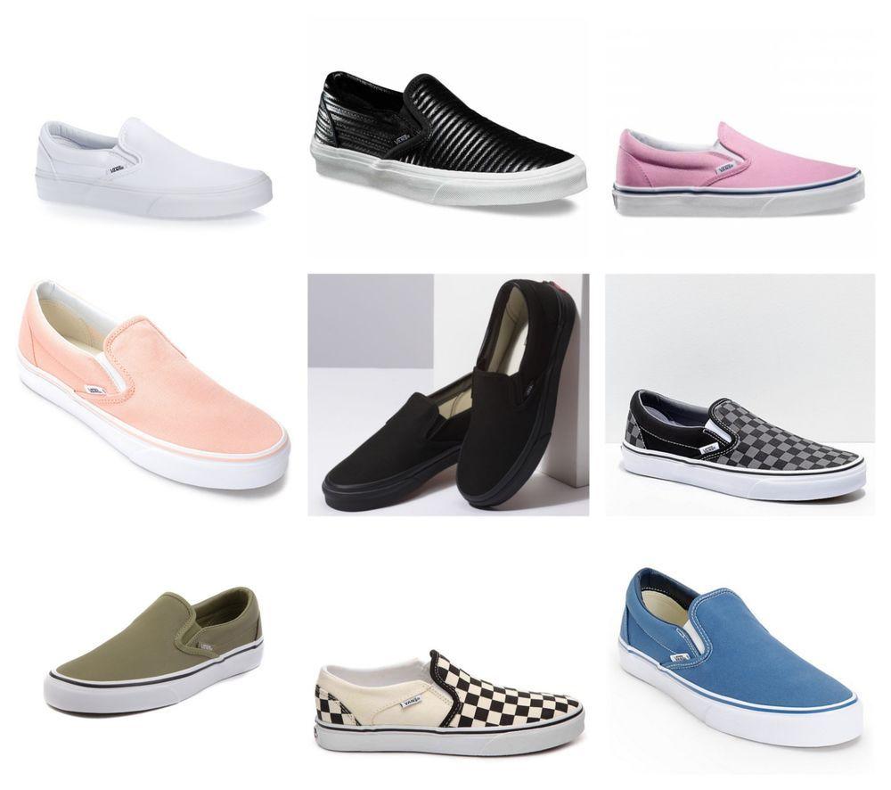 38a5c32af8a New Vans Mens White Blue Checker Black Slip On Canvas Nylon Shoes Sizes 4.5  - 12  VANS  FashionSneakers