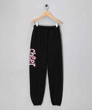 Love this Black 'Cheer' Sweatpants - Girls & Women by Dance World Bazaar on #zulily! #zulilyfinds
