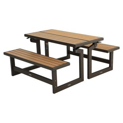 Lifetime Products Wood Grain Folding Convertible Bench To Table Picnic Table At Hayneedle Picnic Table Faux Wood Table