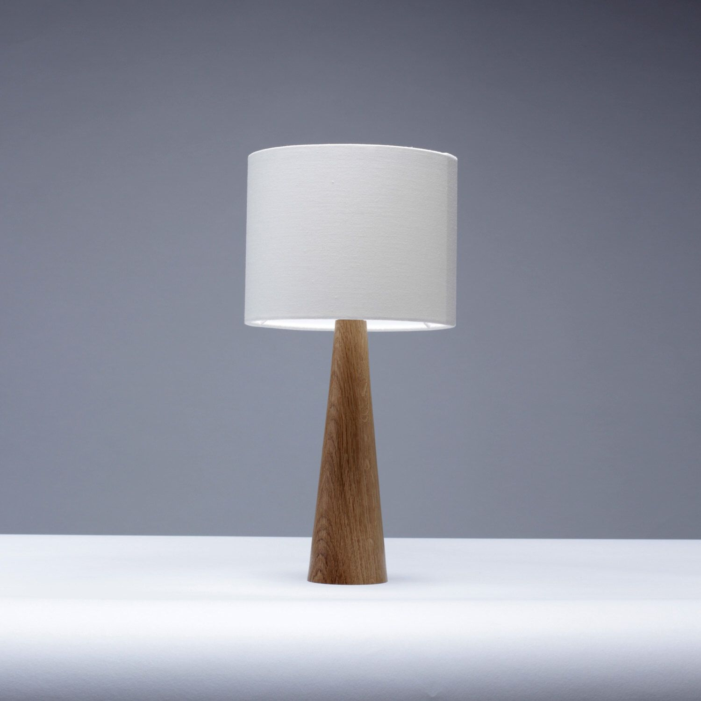 Oak Table Lamp Cone Shape 41cm Bedside Lamp Small Table Lamp