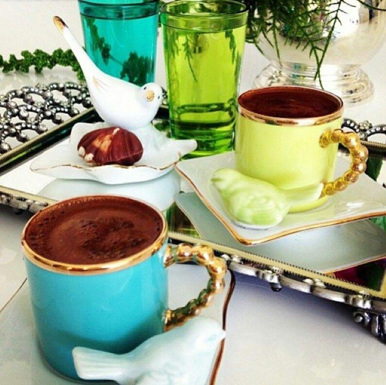 Turkish coffee served in Kütahya porselen cups. The BEST luxurious way of serving Turkish coffee. #coffee #coffeerecipes #turkishcoffee