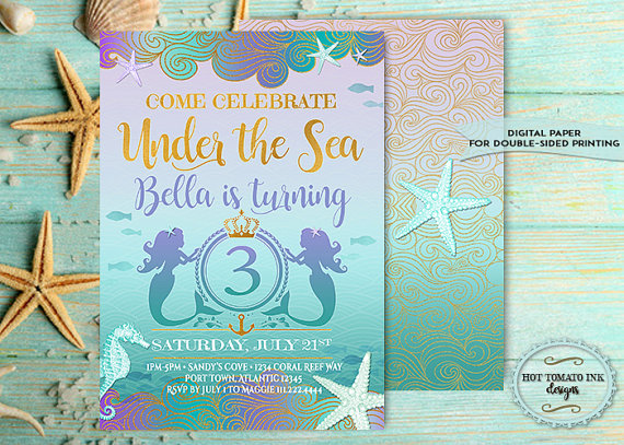 Mermaid Invitation Under The Sea Invitation Birthday Invitation 3