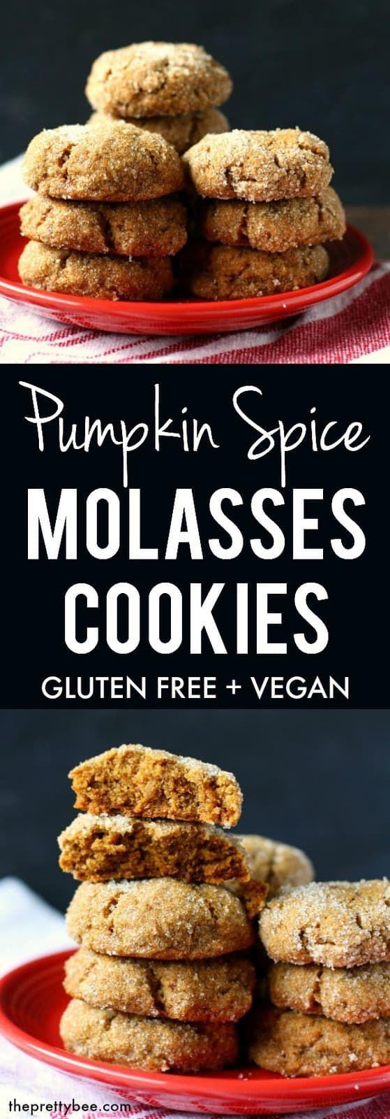 Chewy Pumpkin Spice Molasses Cookies (Gluten Free, Vegan) #glutenfree