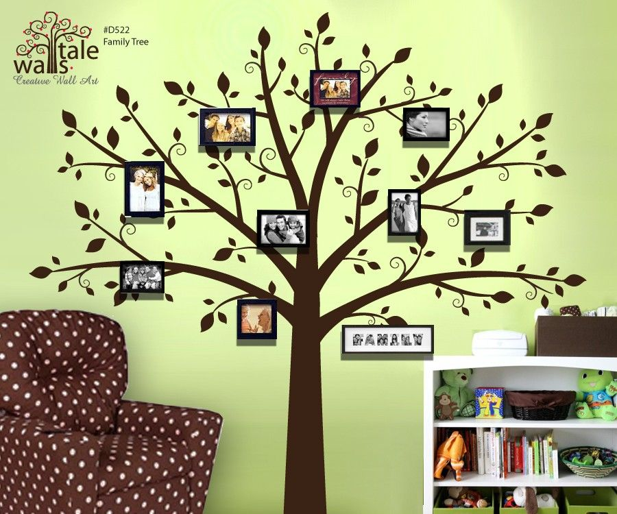 Large Tree Wall decal for photo pictures, family tree wall decal - large  nursery wall decal (wall sticker)