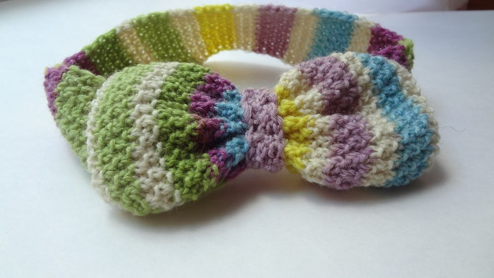 Knit Colourful teen headband with the big bow.