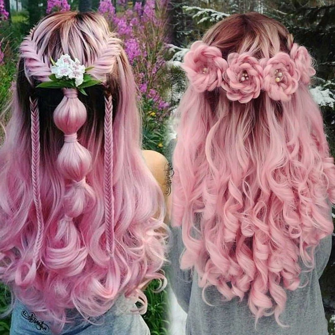 20 Rose Braid Hairstyles You Will Love In 2019 Who Does Not Love Flowers Prepare Yourselves To These Prettiest Rose Br Hair Styles Long Hair Styles Pink Hair