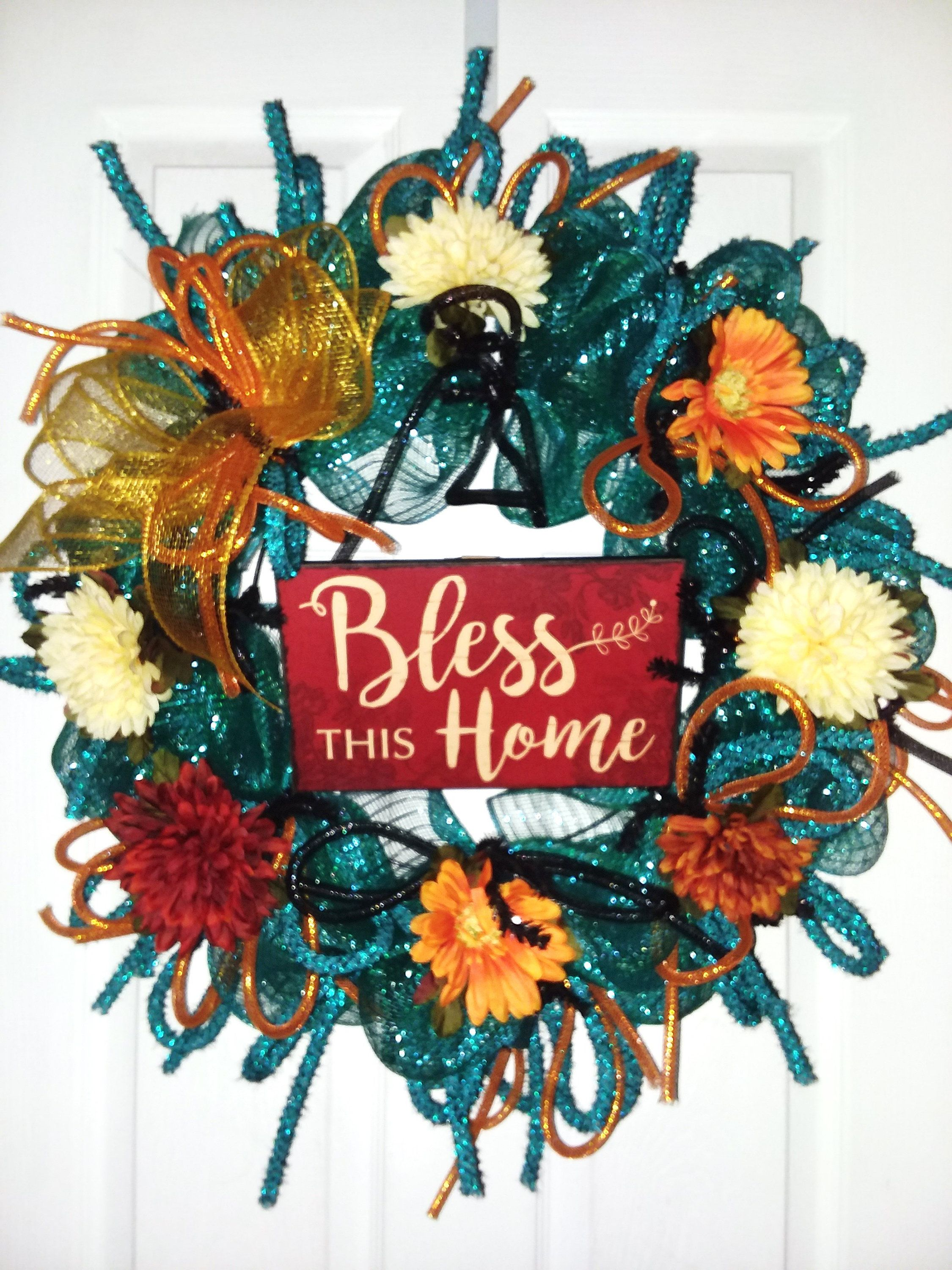 Bless This Home Wreath Wreath With Home Sign Spring Wreath Mesh Wreath Spring Front Door Wreath Home Door Hanger Floral Wreath In 2020 Spring Front Door Wreaths Spring Wreath Wreaths For