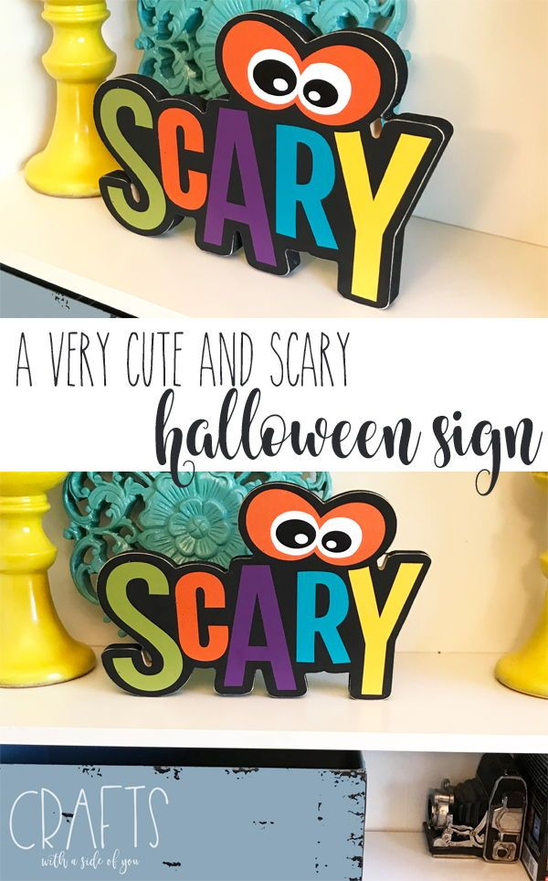 What a cute Halloween sign! I want to put this on my mantle with the - my halloween decorations