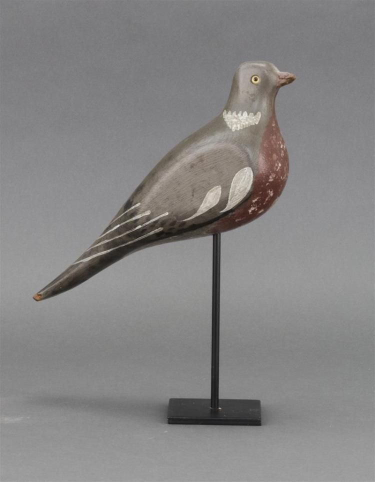 WOOD PIGEON DECOY English, Early 20th Century <br /> Maker unknown. Glass eyes. Original paint with minor wear.