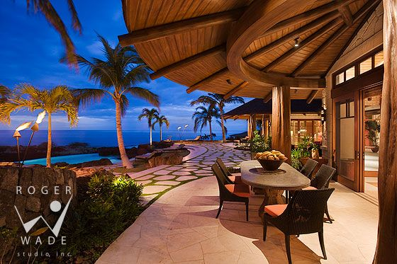 Dining lanai looking towards terrace infinity pool and for Pool design hawaii