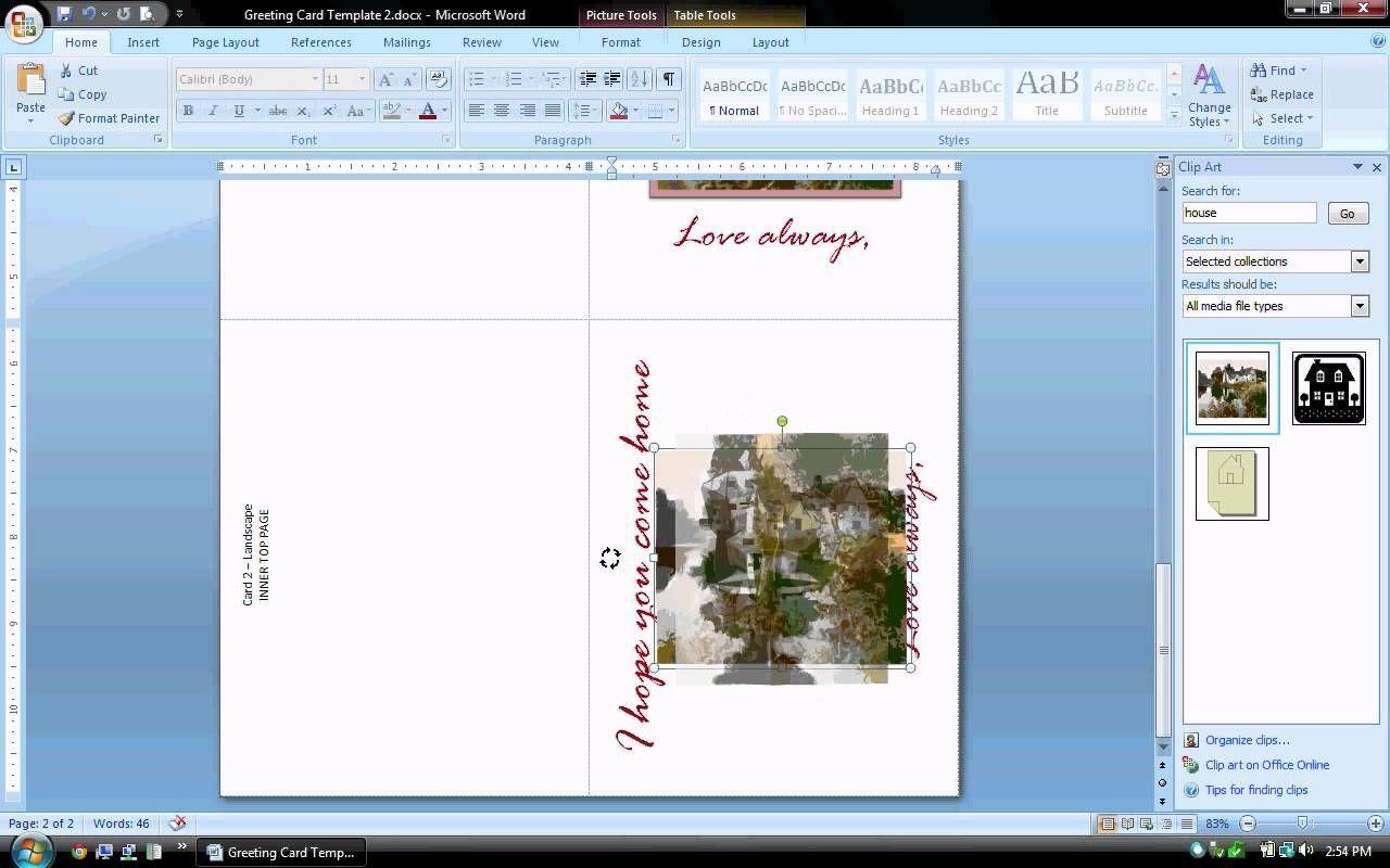 Ms Word Tutorial Part 2 Greeting Card Template Regarding Birthday Card Template Microsoft Word In 2020 Greeting Card Template Birthday Card Template Card Template