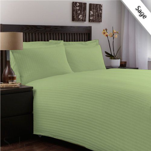 QUEEN-XL 400TC 100% EGYPTIAN COTTON 4PCs DUVET SET + FITTED SHEET 12inches DEEP,SAGE STRIPE
