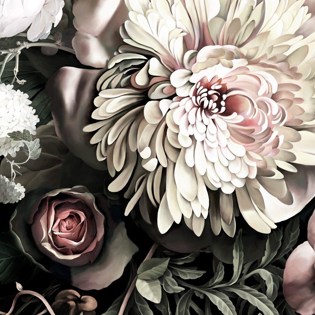 Dark Floral II Black Saturated Wallpaper Grey wallpaper