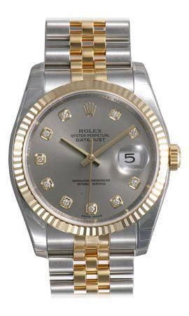 c7d9ab022a2 Rolex Datejust Grey Diamond Dial Jubilee Bracelet Fluted Bezel Two Tone  Men's Watch (W-116233-GYDJ)