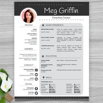 Teacher Resume Template + Cover Letter + References (Black