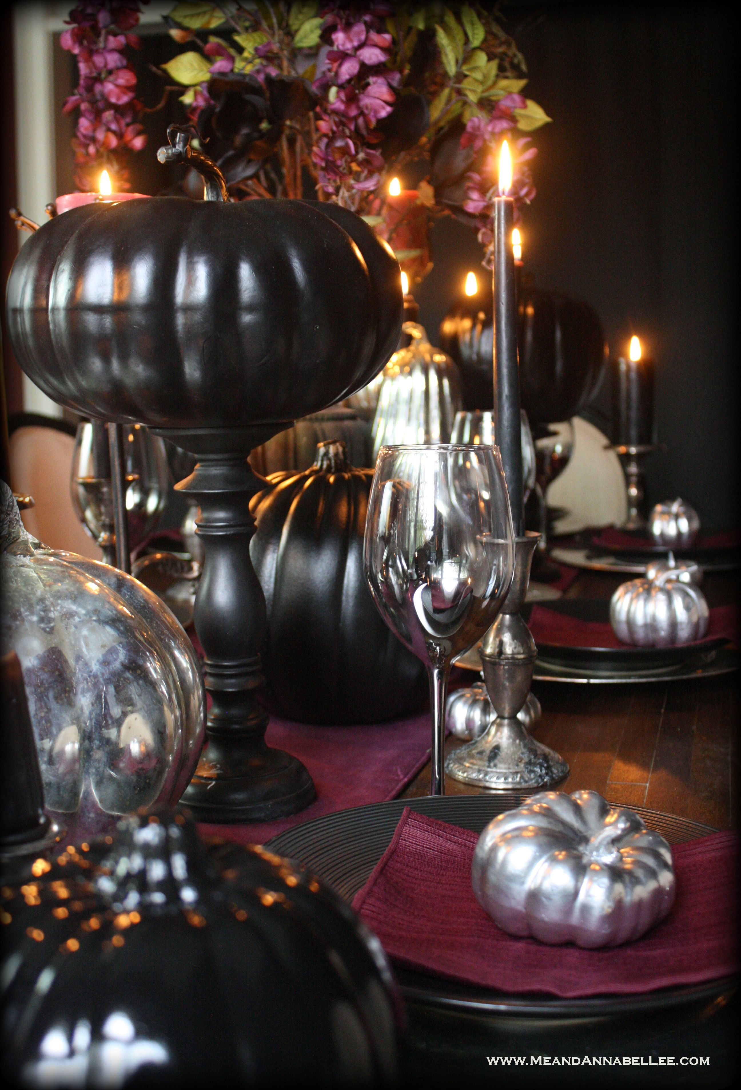 Black And Purple Gothic Thanksgiving Table Thanksgiving Table Decorations Purple Halloween Decorations Thanksgiving Table