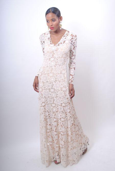 vintage 1970s LACE BOHO WEDDING DRESS ivory sheer crochet cutout ...