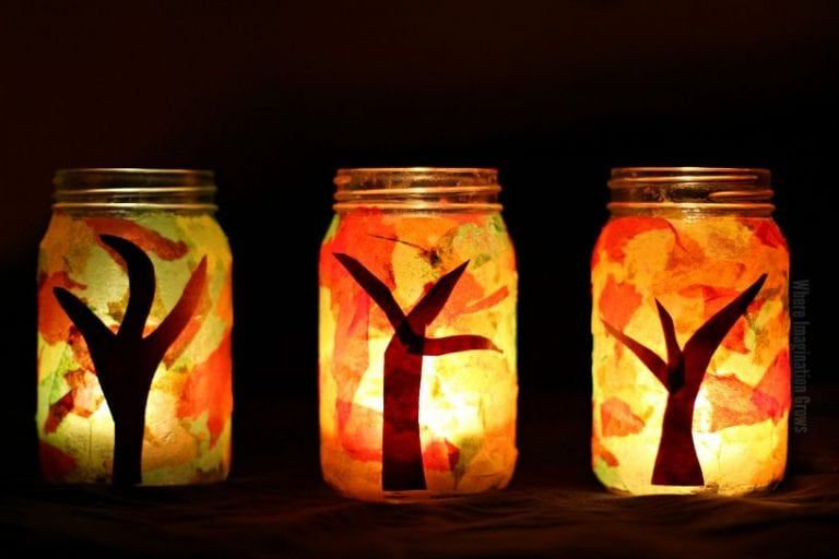 Mason Jar Fall Luminaries Craft -   20 fall crafts tree