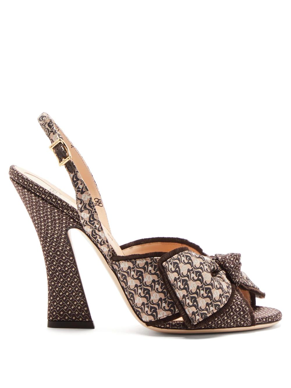 Logo-jacquard bow-tie slingback sandals | Fendi |