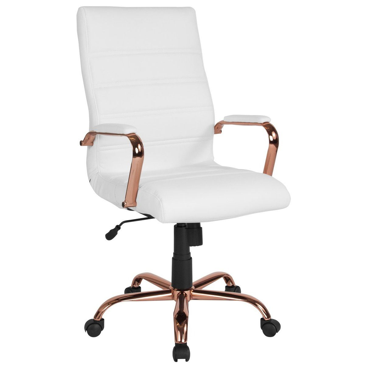 Rose Gold And White Office Chair Leather Office Chair White Office Chair Modern Office Chair