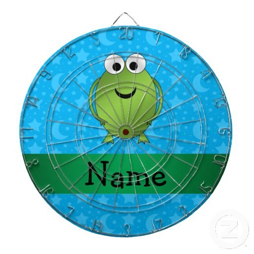 Personalized name frog blue stars and moons dartboards
