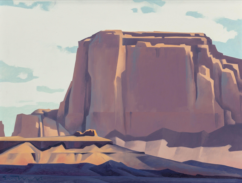 Ed Mell (American, b. 1942). Shadows on the Desert Floor. Oil on canvas.