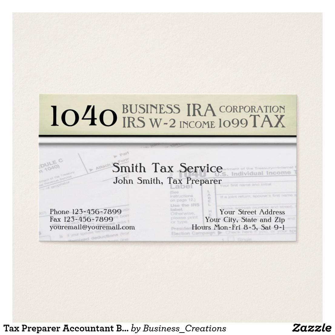 Tax Preparer Accountant Business Card Custom Check out more business ...