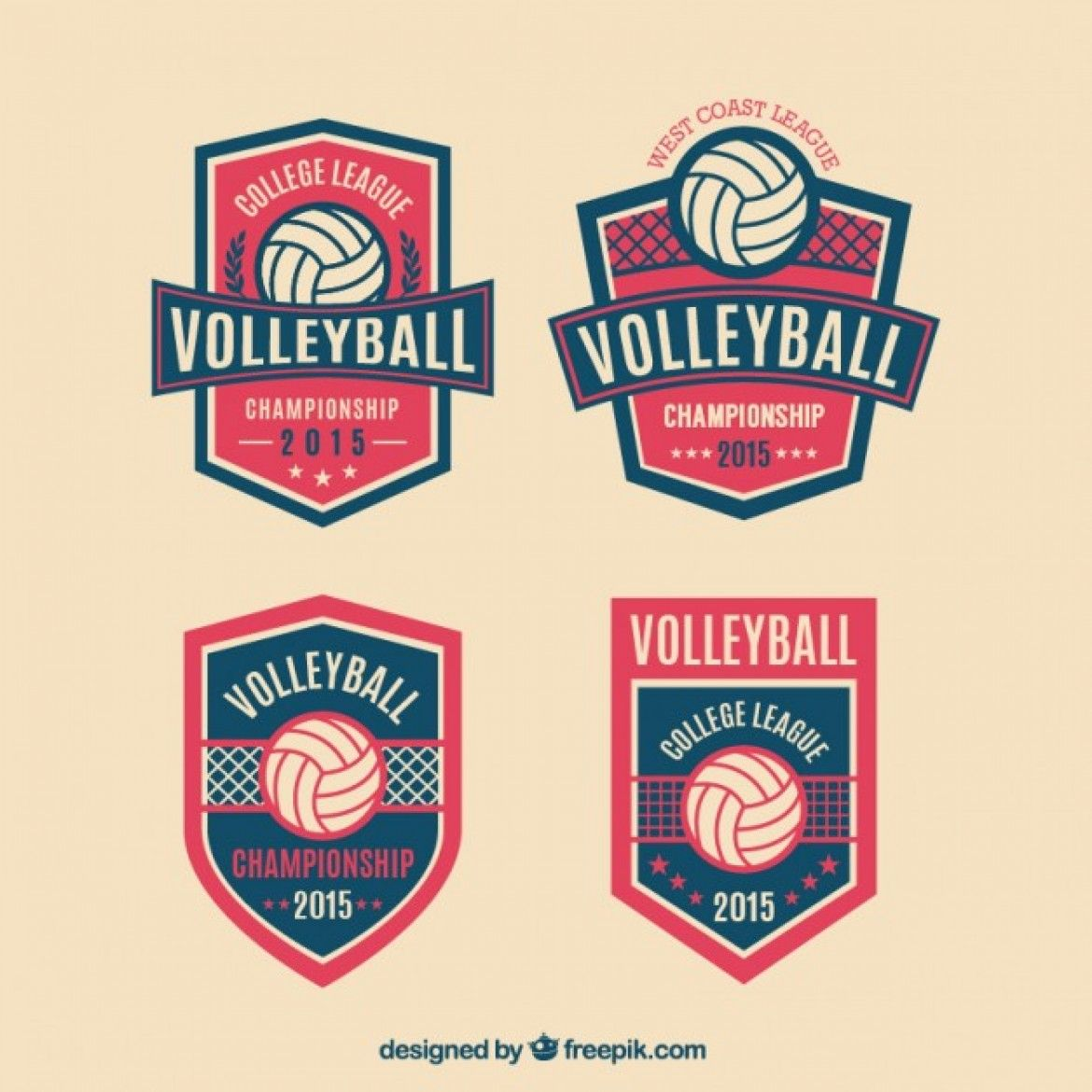 Free Vector Volleyball Badges Pack 25593 Volleyball Designs Volleyball Volleyball Shirt Designs