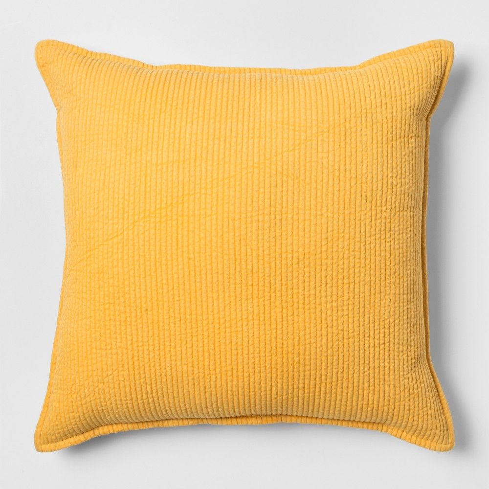 Yellow Chambray Oversize Square Throw Pillow Threshold