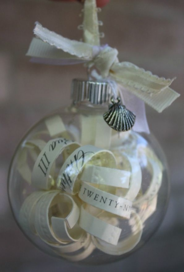 Cut up strips of your wedding invitation and stuff them into a clear ornament for your first Christmas together! pattyshivlee