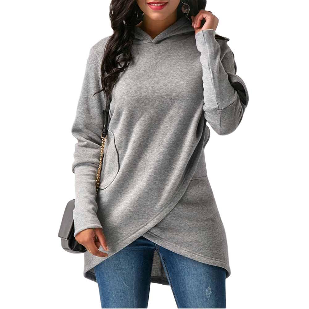 Autumn Winter Women Hooded Hoodies Long Sleeve Sweatshirt Asymmetric Hem Wrap Hoodie Casual Outwear Tops In 2021 Womens Hoodies Casual Hoodies Womens Sweatshirts Women [ 1001 x 1001 Pixel ]