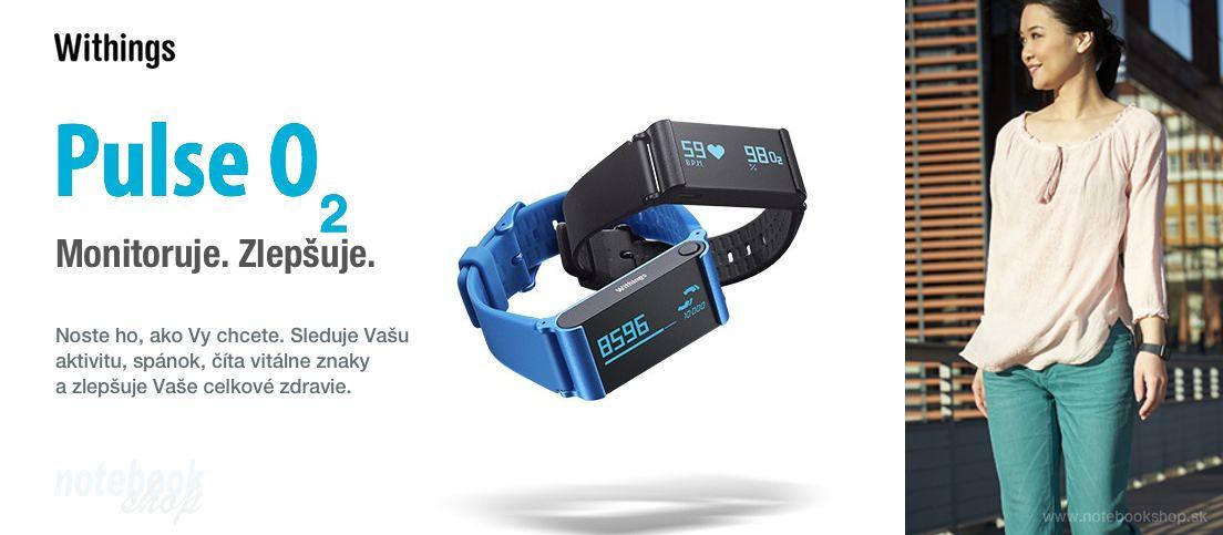 Withings Pulse O2 - Activity Tracker - Nový monitor aktivity a spánku Pulse O2 s meraním okysličenia krvi s praktickým športovým náramkom v balení.