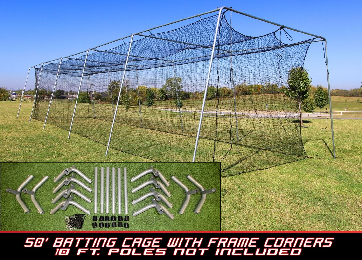 diy batting cage kit. you get the poles at a local home store and we
