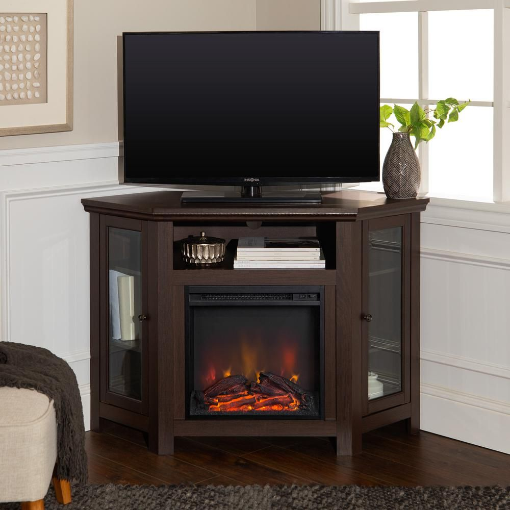 Walker Edison Furniture Company Espresso Fire Place Entertainment