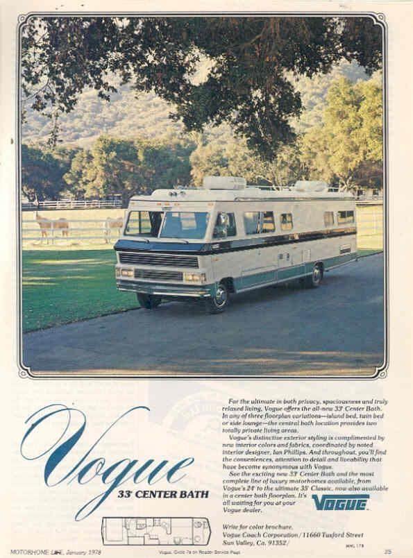 Vogue motorhome advertisement | RVs and Motorhomes