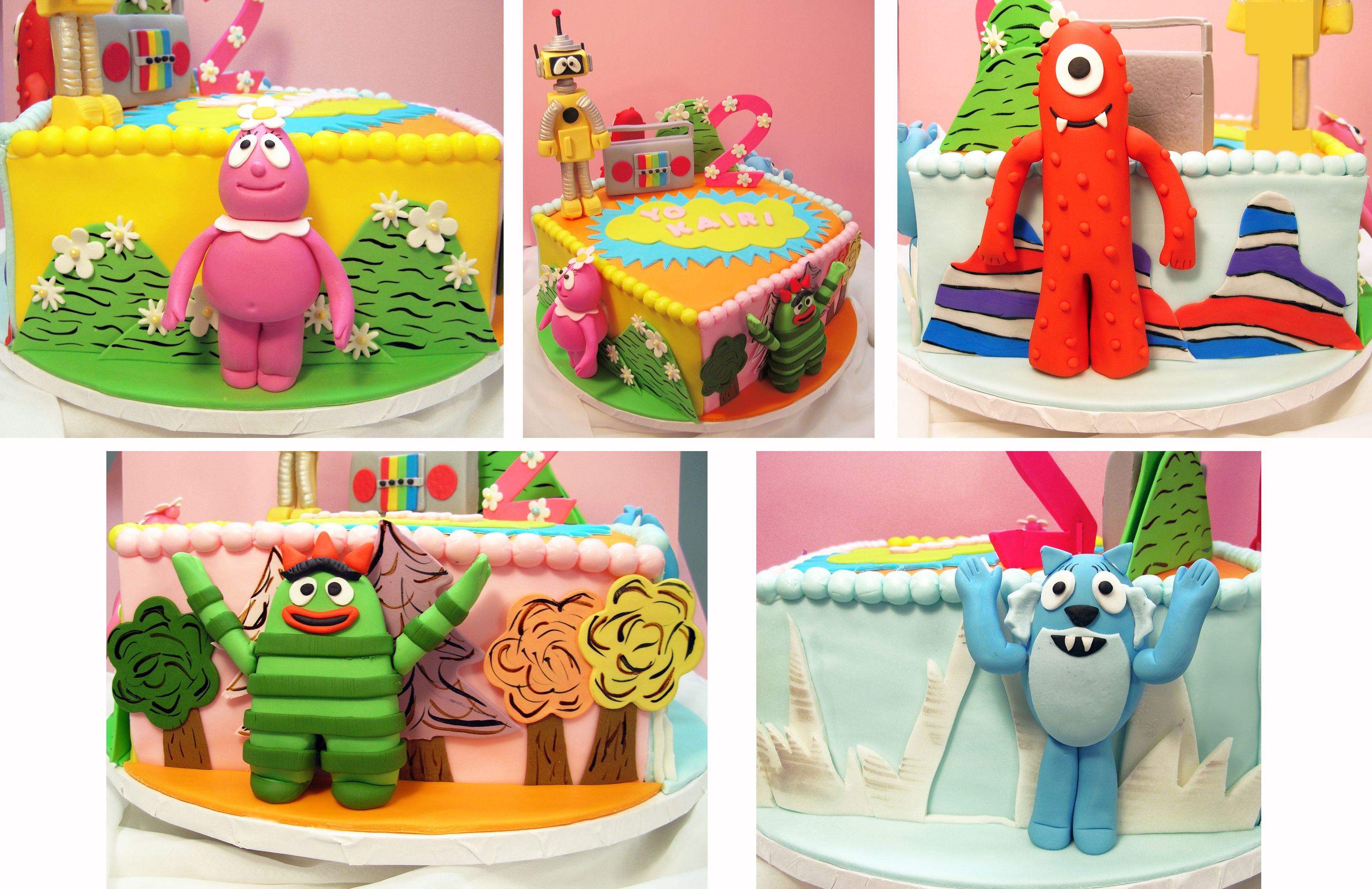Miraculous Yo Gabba Gabba Birthday Cake With Each Side A Different Land Funny Birthday Cards Online Overcheapnameinfo