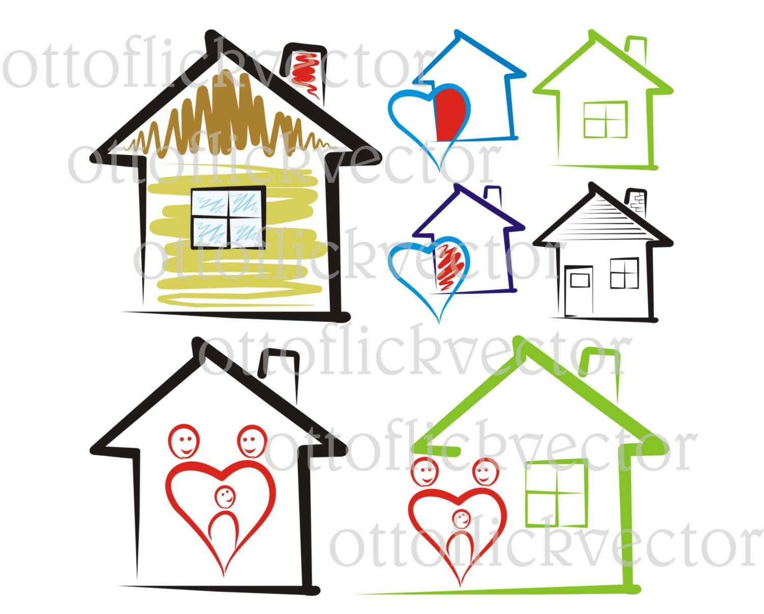 SWEET HOME VECTOR clipart, house silhouettes icon eps, ai
