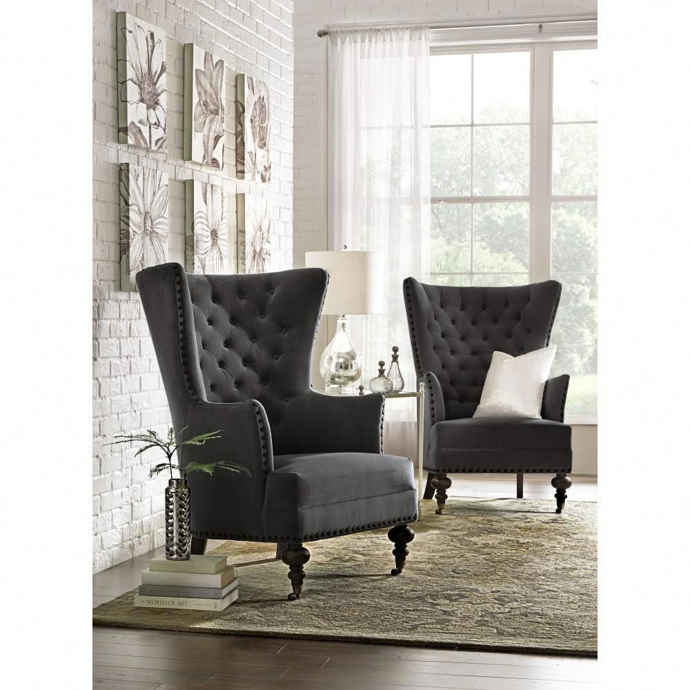 Home Decorators Collection Remmy Velvet Slate Upholstered