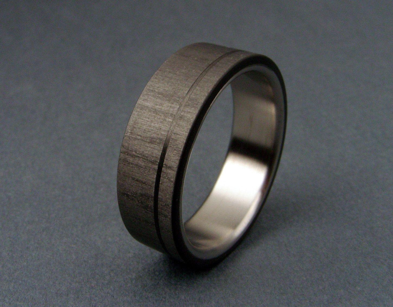 Carbon Fiber And Titanium Wedding Ring Pinstripe Satin Finish Titanium Wedding Rings Titanium Rings Mens Wedding Rings