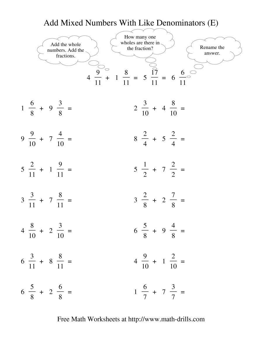 The Adding Mixed Fractions Like Denominators Renaming No Reducing E Math Worksheet From The Fraction Fractions Worksheets Adding Mixed Fractions Fractions