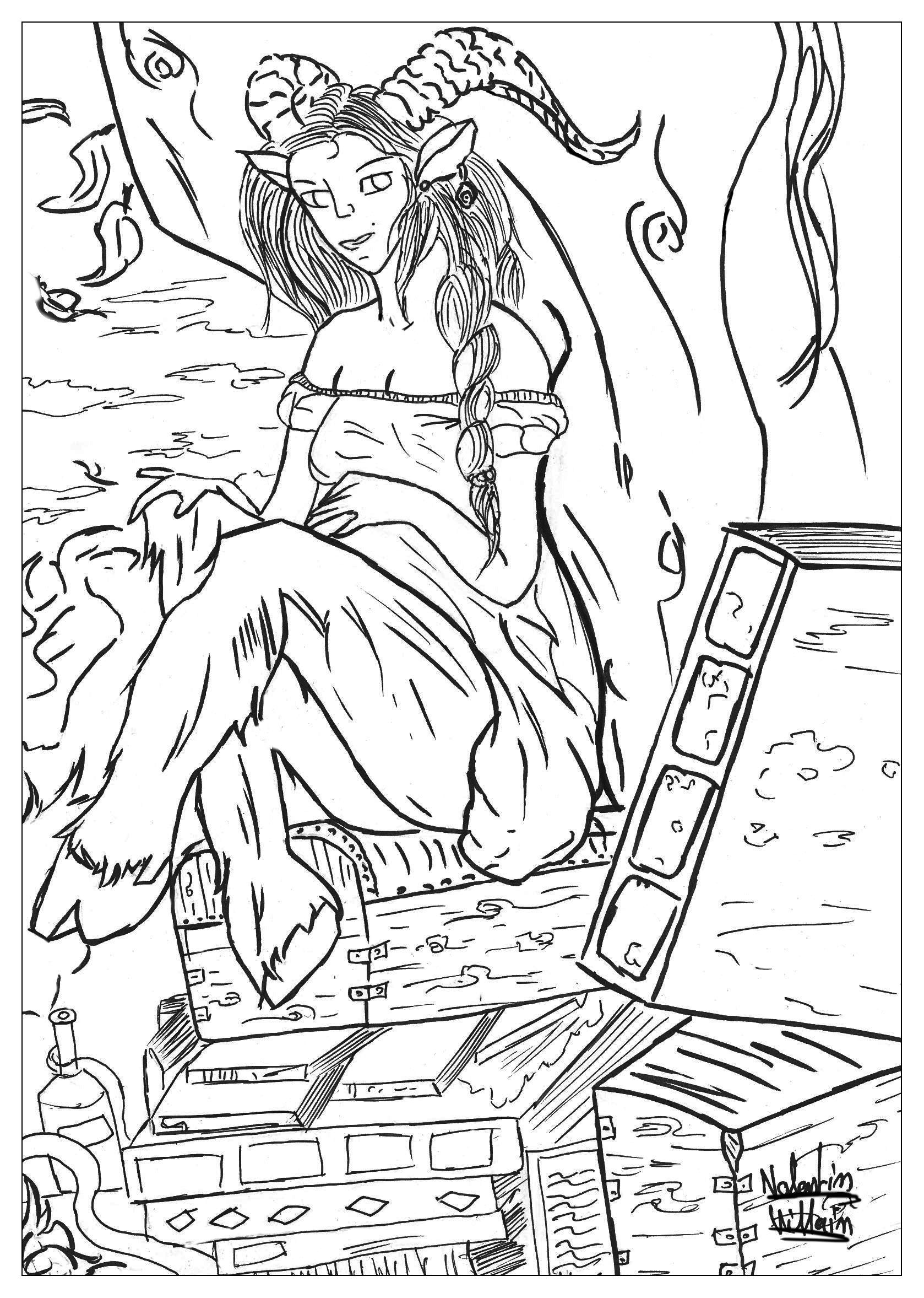 a coloring page with a satyr from the gallery myths