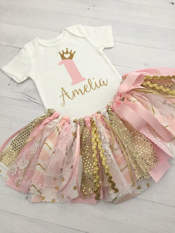 0ea66254d Pink and Gold Princess Birthday Outfit/Pink and Gold Princess Theme Fabric  Tutu/Baby Girl First Birt