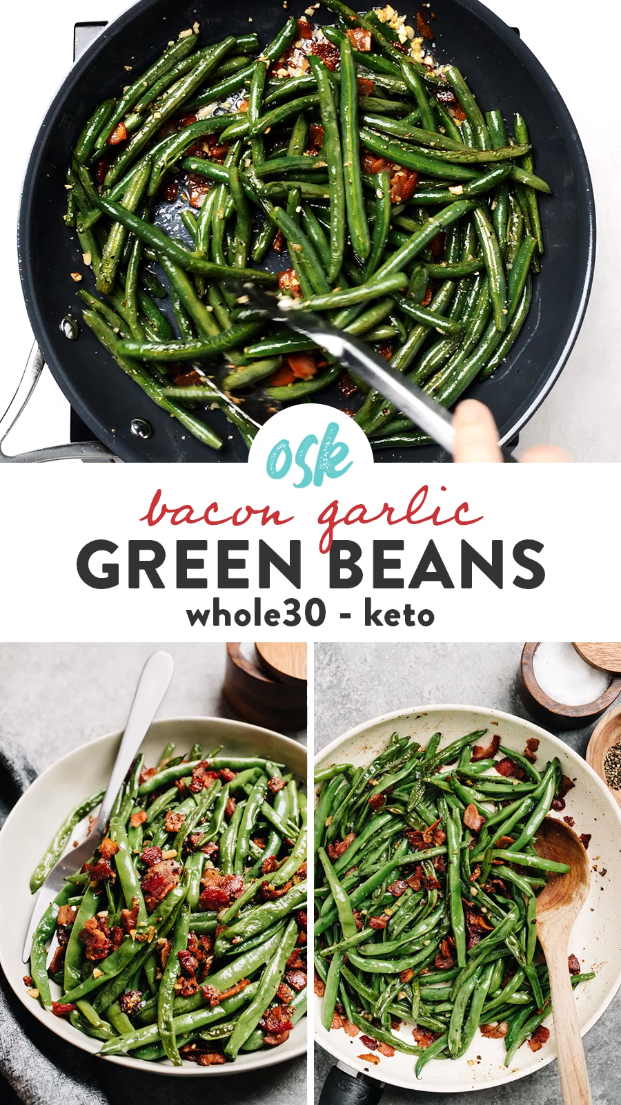Green beans with bacon are the fast and easy side dish you need for everything from weeknight dinners to holiday celebrations like Thanksgiving and Christmas. Ready in 20 minutes using one pan and just four real, whole food ingredients, these green beans are incredibly easy and packed with huge flavor! Naturally keto, Whole30, paleo, gluten free and dairy free, they're an excellent holiday recipe for a crowd. #sidedish #thanksgiving #quickandeasy #whole30 #keto #dairyfree