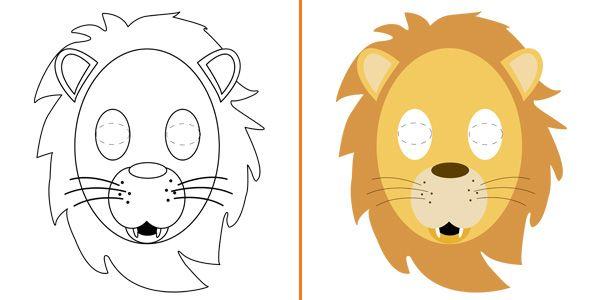 Maschera da leone da stampare colorare e costruire - Scimmia faccia da colorare pagine da colorare ...