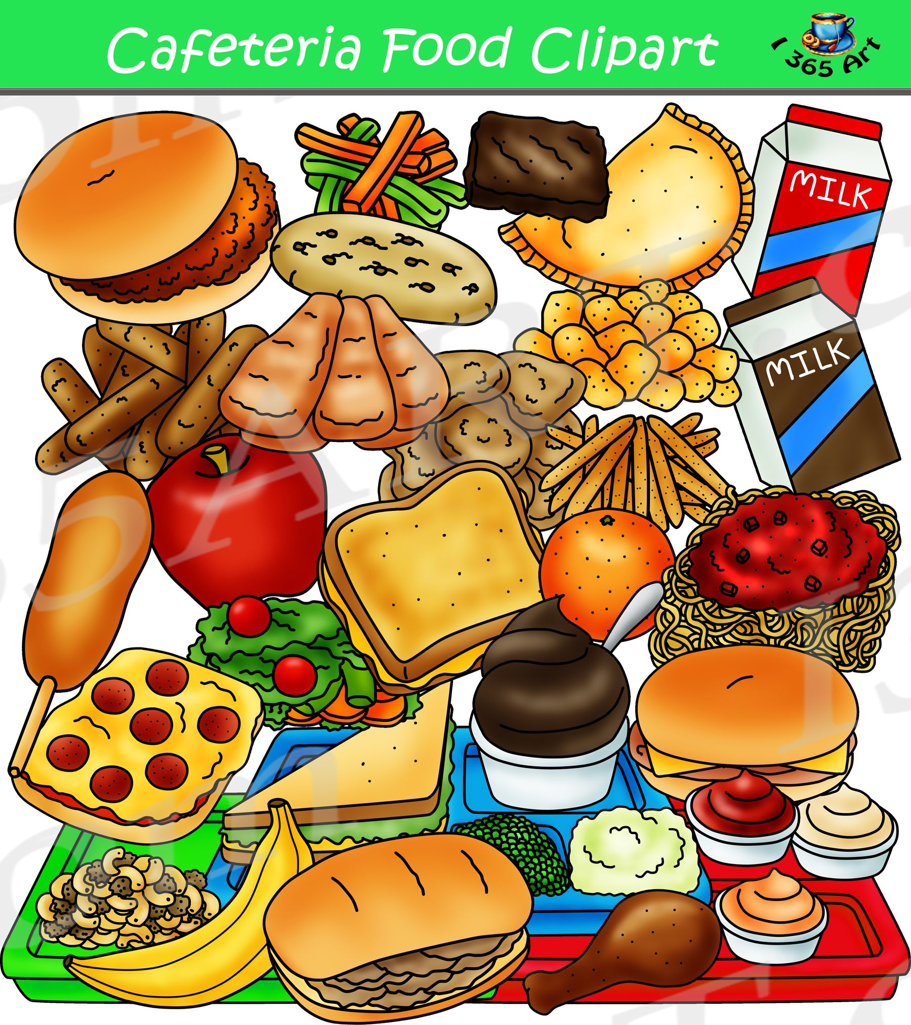 Cafeteria Food Clipart Graphics Set – Build A Lunch Tray ...