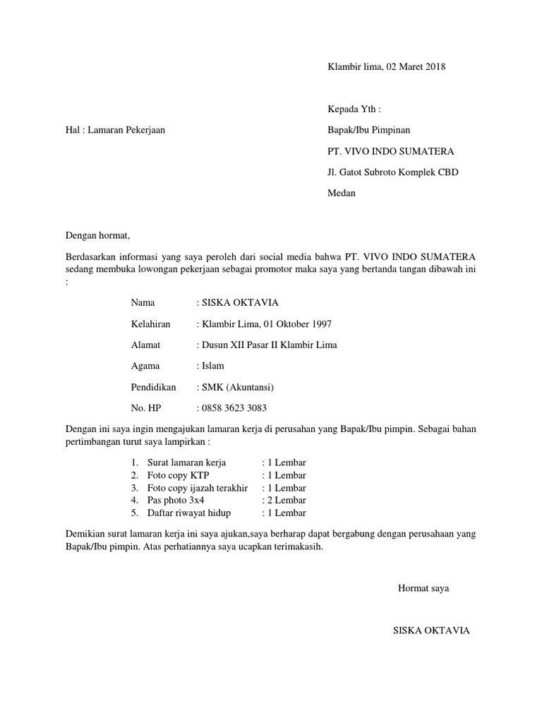 50 Contoh Surat Lamaran Kerja Xiaomi Pimpinan Tanda Surat