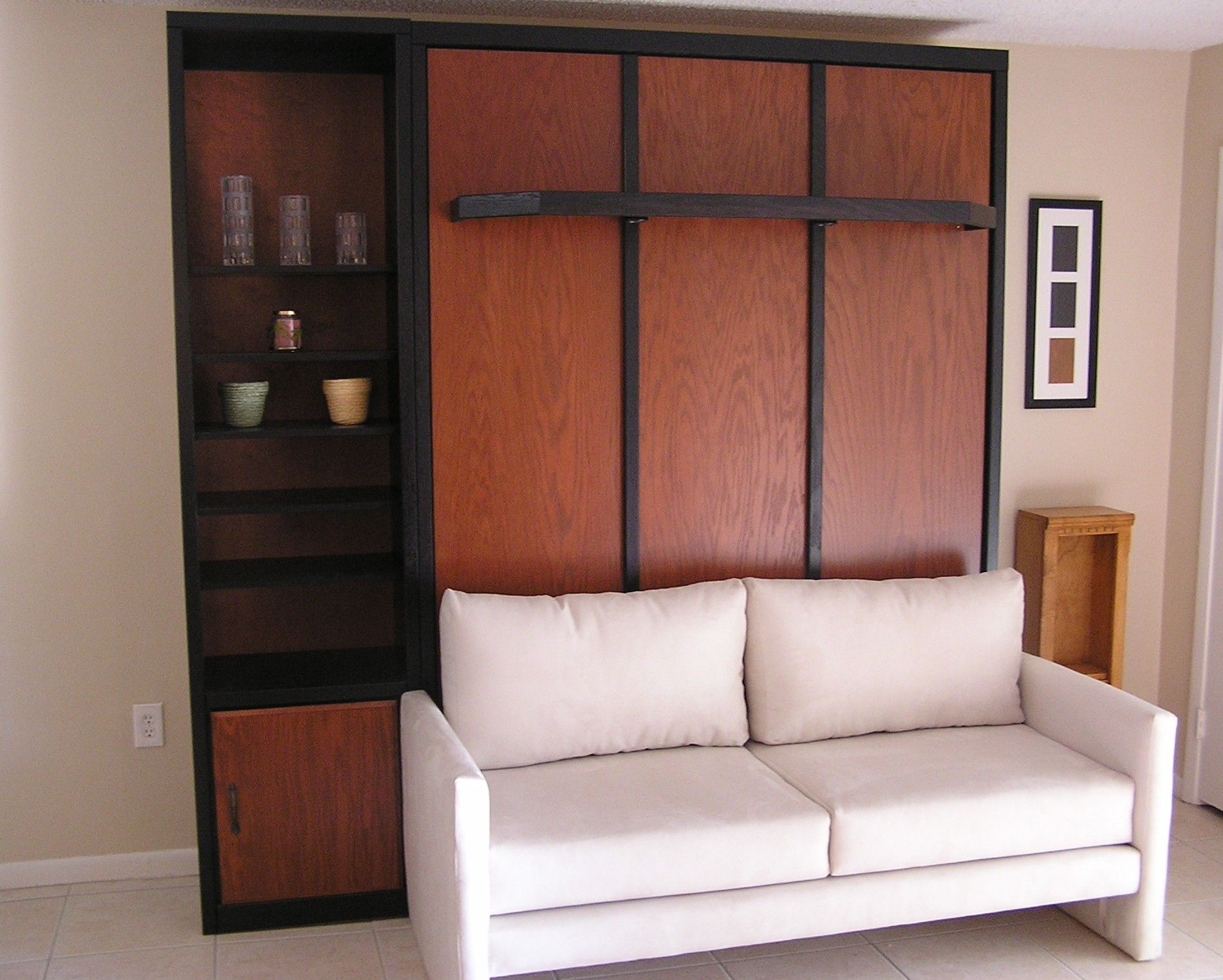 Murphy bed over sofa and they also show one that has a
