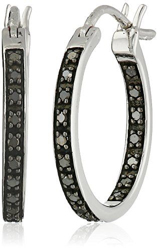 Sterling Silver Black Diamond Inside Out Hoop Earrings 1 4 Cttw I2